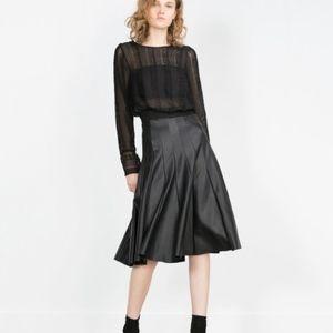 Zara Woman Faux Leather Midi Swing Skirt BNWT